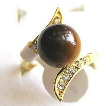Real Natural Tigereye Tiger's Eye Opal Stone Golden Crystal Ring Size: 7.8.9