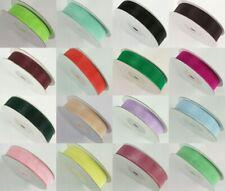 "1.5/"" Full 20m roll Wired edge UK Wine burgundy Organza fabric ribbon 38mm"