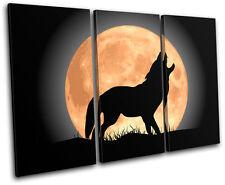 Wolf Moon Wild Animals TREBLE TOILE murale ART Photo Print