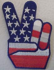 USA FLAG PEACE SYMBOL MOTORCYCLE BIKER VEST OR JACKET PATCH - STARS & STRIPES