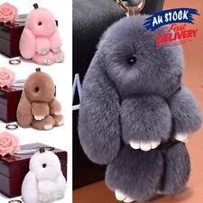Adorable Plush Fur Bunny Rabbit Charm Bag Pendant Keyring Keychain Toy Fluffy