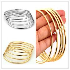 5pcs Fashion Women Bracelet Bangle 2/3mm Stainless Steel Gold Silver Jewelry