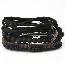 Accessori di moda cordone di ancoraggio in Pelle Braccialetto Multistrato Intrecciato