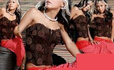 Sexy Miss Damen Bustier Stretch Corsage Spitze Perlen Zip S 34 M 36 L 38 braun