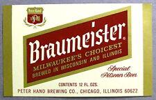 Peter Hand BRAUMEISTER - SPECIAL PILSENER BEER label IL 12oz - Var. #1