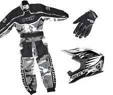 Kids Wulfsport MX Childrens Grey Overall Helmet & Glove Black Camo Set #O8