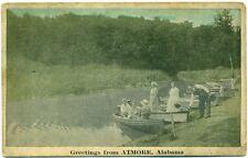 c. 1930 ATMORE, AL, BOATS ON WATER GREETINGS POSTCARD