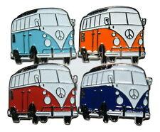 Camper Van Pin Badges Pale Blue Orange Red Dark Blue Enamel VW Transport