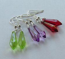 Handmade Fashion Jewellery - Red Lilac Lime Green Teardrop Pendant Earrings