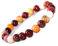 Natural Mokaite Gemstone Round Sphere Balls Beads Elastic Bracelet Gemstones $