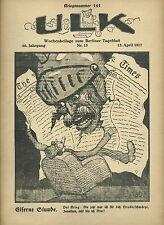 Ulk semaines supplément au de Berlin dealer guerre numéro 141 (1917) OLD MAGAZINE