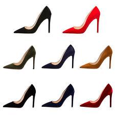 Verocara Women Pointed Toe High Heel Solid Color Low-Cut Suede Dress Pump Shoe