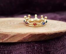 Miniature GOLD gemstone CROWN 1:12th scale dolls house castle king UK SELER