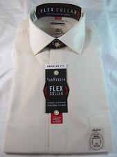 NWT VAN HEUSEN FLEX COLLAR STRETCH LONG SLEEVE DRESS SHIRT Reg Fit, Canvas, Tan