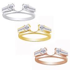 Valentine's Day 1Ct Princess Diamond Silver Bridal Ring Wrap Enhancer