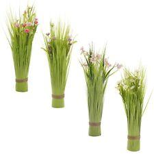 Realistic Look Decorative Artificial Grass Bouquet Bundle Coloured Plant Flowers