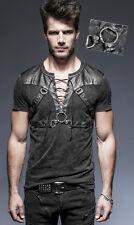 T-shirt haut gothique punk steampunk harnais sangle laçage argent Punkrave homme