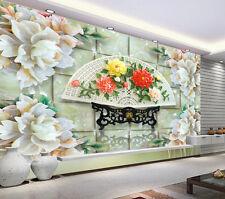 3D Jade Fan Flower 2 Paper Wall Print Decal Wall Wall Murals AJ WALLPAPER GB
