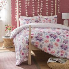 Oriental Flower Lilac Reversible Duvet Cover & Pillowcase Bed Set All Sizes