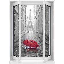 Sticker mural Fenêtre trompe l'oeil Parapluie rouge Paris noir et blanc 5359 535