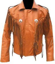 Marrone Occidentale Pelle Uomo Cappotto Cowboy Fringe Perline Ossatura Giacca