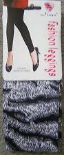 New Womens Jiuyu White & Black Zebra Print Leggings - One Size fits S M L