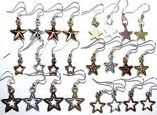 PATRIOTIC BARN WESTERN STAR EARRINGS * Antiqued Copper Gold Silver Brass