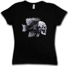 Fish Skull señora T-Shirt fishing Fisher rod pole Bone Hunting River sea and line