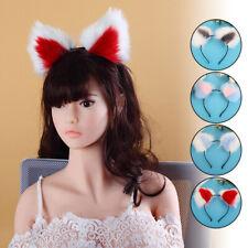 Furry Cat Fox Ears Headband Costume Anime Neko Cosplay  2 Colour Hair Clip Cute