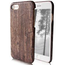 Case Handy Schutz Hülle für Apple iPhone Cover Bumper Hart Holz Braun Natur Slim