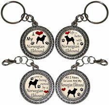 Norwegian Elkhound Dog Key Ring Key Chain Purse Charm Zipper Pull Handmade