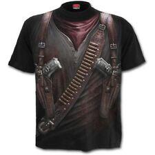Spiral Direct Holster Wrap Western Gun Apocalypse Black Short Sleeved Tshirt Top