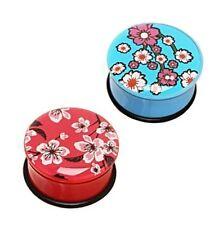 PAIR (2) Acrylic Blossom Flowers EAR PLUGS Single Flare PIERCING GAUGES Earrings