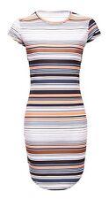 Multicoloured striped bodycon dress