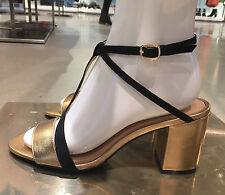 Zara Cuero Sandalias De Tacón Alto Con Detalle Correa Zapatos De Oro 36-41  Ref. 1543 101 7eadf855a9a1