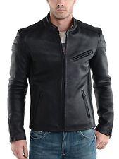 New Men's Leather Jacket Black Slim fit Motorcycle Real lambskin jacket #807
