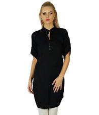 Bimba Women Chic Style Black Top Tunic Boho Bohemian Placket Blouse Kurti Kurta