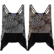 Para Mujer Leopardo Cascada Con Tiras De Capas de Chifón Cami Flare Alta Baja Top