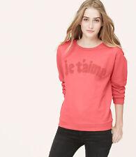 Ann Taylor Loft  Long Sleeve French Terry Je t'aime Love Sweatshirt XS S M L NWT