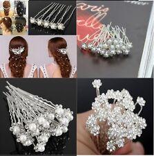 Wedding Bridal Pearl Hairpins Flower Crystal Rhinestone Diamonte Hair Grips