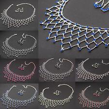 Schmuckset Collier + Ohrringe Strass Brautschmuck Halskette Damen Silberfarben