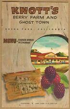 1960s Knott's Berry Farm & Ghost Town MENU Booklet, NICE