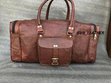 Men's Vintage Leather Organizer Luggage Weekend Overnight Duffel Shoulder Bag