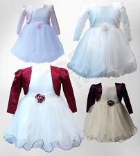 Baby Girls Wedding Dresses with Bolero Christening Flower Girl Dress