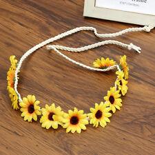 Women Daisy Flower Crown Headband Hairband Boho Festival Party Holiday