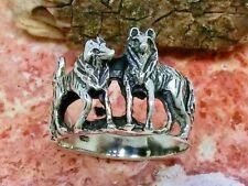 Wolf Wölfe 925 Silber Ring Wolfsrudel Fenris Kelten Indianer versch. Größen