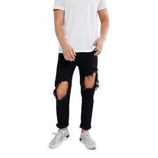 DIESEL MHARKY 084WR Mens Denim Jeans Ripped Slim Fit Skinny Black