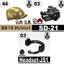 Dark Tan BK1X+SD-21+JS1 (W53+184+94) Navy Seal Helmet compatible w/brick minifig