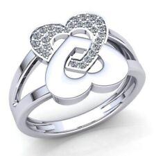 1.5ct Round Cut Diamond Ladies Alternating Heart Anniversary Ring 14K Gold