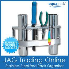 STAINLESS STEEL DOUBLE 2-ROD RACK VERTICAL HOLDER/ORGANISER-Boat/Fishing/Storage